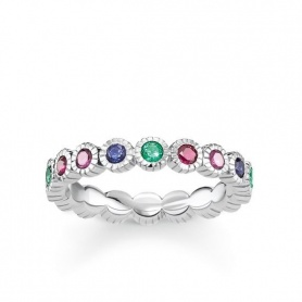 Anello veretta Thomas Sabo Royalty pietre naturali multicolor