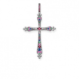 Ciondolo Thomas Sabo Roce Royalty croce con pietre multicolor