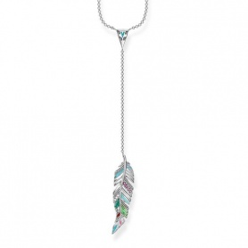 Thomas Sabo woman multicolor feather pendant necklace