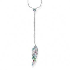 Thomas Sabo woman multicolor feather pendant necklace
