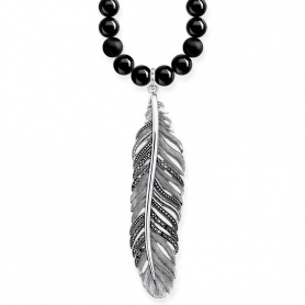 Black onyx necklace Thomas Sabo Power Piuma pavè