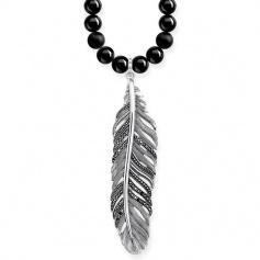 Black onyx necklace Thomas Sabo Power Piuma pavè