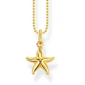 Thomas Sabo pellet necklace Yellow gold-plated sea star