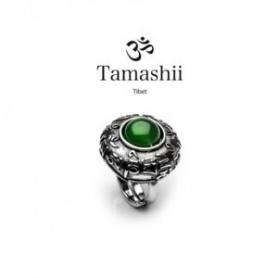 Anello Tamashii Dvags Agata Verde in argento e pietra