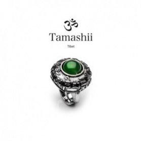 Tamashii Dvags Agate Green ring in silver and stone