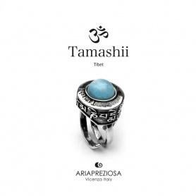 Anello Tamashii Pan Zva Giada Sky blu in argento e pietra