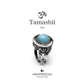 Tamashii Pan Zva Giada Sky ring in silver and stone