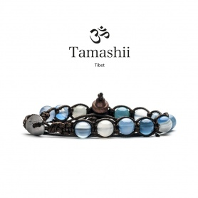 Tamashii Agate bracelet Light blue Striated one turn - BHS900-84