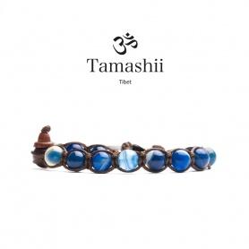 Tamashii Agate Blue Bracelet Striated a round - BHS900-141