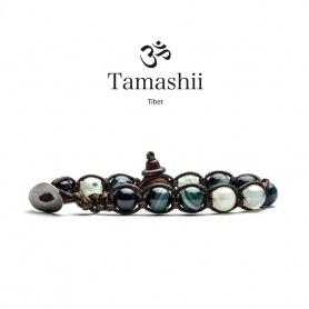 Tamashii Agate Bracelet Green Persia Striata a round - BHS900-161