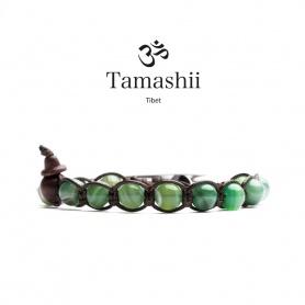Bracciale Tamashii Agata Verde striata  un giro - BHS900-140
