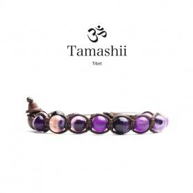 Bracciale Tamashii Agata Viola Striata un giro - BHS900-85