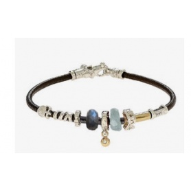 Unisex Misani bracelet with gold and quartz leather thread