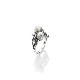 Giovanni Raspini Ring Südsee kleine Perle und Silberriff