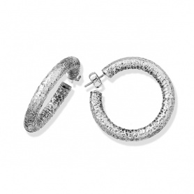 Giovanni Raspini Super Bowl silver hammered circle earrings