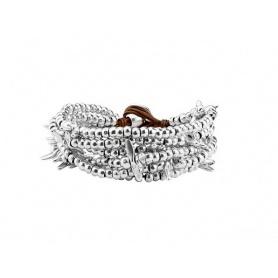 Bracciale Uno de50 Lovely fascia larga pepite argentato
