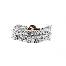 Bracelet Uno de50 Lovely wide band silver nuggets