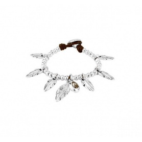 Uno de50 Pavonearse bracelet with dangling feathers and nuggets