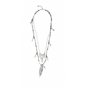 Uno de50 Pavonearse multi-strand leather and metal necklace with feathers