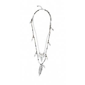 Uno de50 Pavonearse Multi-Strang Leder und Metall Halskette mit Federn