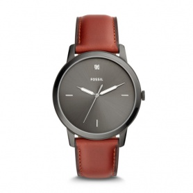 Fossil men's watch The Minimalist in gray leather - FS5479