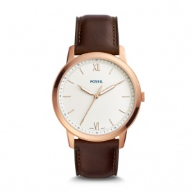 Fossil men's watch The Minimalist rosè in brown leather - FS5463