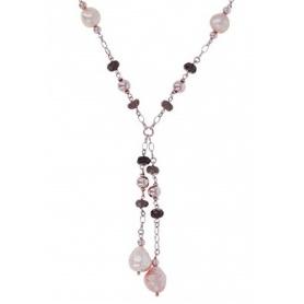 Bronzallure Halskette Rosè mit Perlen und Rauchquarz