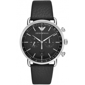Armani watch Chrono leather black quartz indexes silver - AR11143