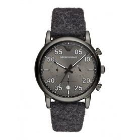 Armani Chrono Uhr grau blauen Stoff Stoffband