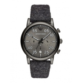 Armani Chrono watch gray blue cloth fabric strap