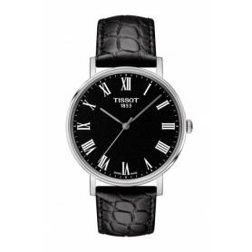 Tissot Everytime clock medium black Roman leather indexes