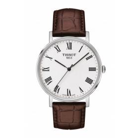 Tissot Everytime clock medium dark brown leather