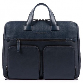 Piquadro briefcase Linea Line blue leather - CA4487W89/BLU