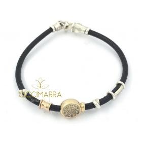 Toyama Bay Misani Armband, in Leder und braunen Diamanten