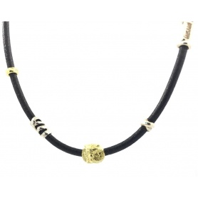 Misani Halskette Grand Tour Schmuck in Leder, Gold und Silber