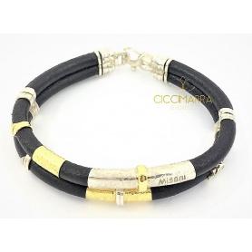 Misani Armband mit Doppelfaden, Leder, Gold und Silber - B2094
