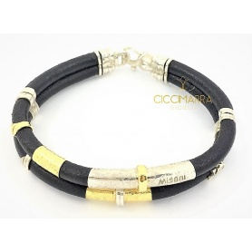 Misani bracelet with double thread, leather, gold and silver - B2094